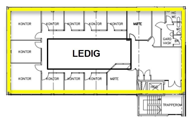 Planskisse 2. etasje (kun ledig areal)