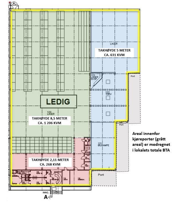Planskisse 1. etasje (kun ledig areal