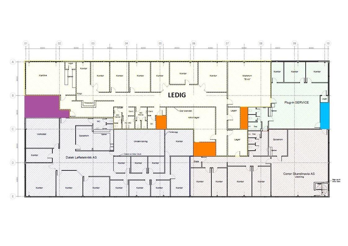 Planskisse 2. etasje - kontor