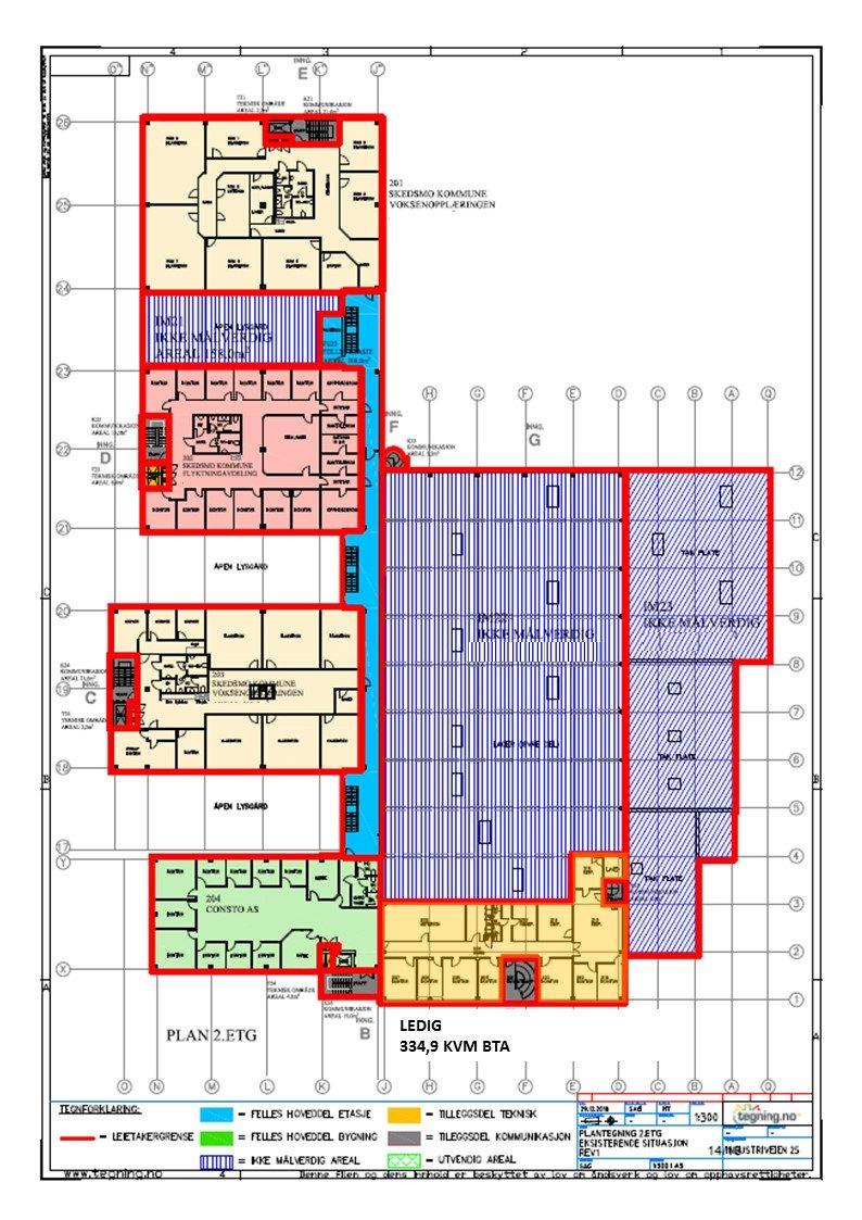 Planskisse 2. etasje - 334,9 kvm