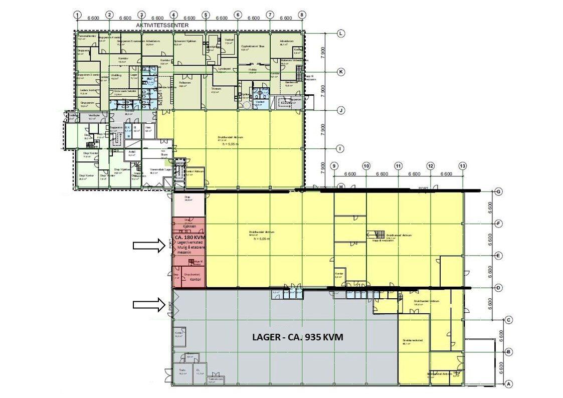Planskisse 1. etasje - lager (hele etasjen)