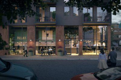 Tøyen: Nytt bygg m/næringslokale på gateplan til leie på ca.129 kvm BTA. Passer til servering/butikk/cafe.